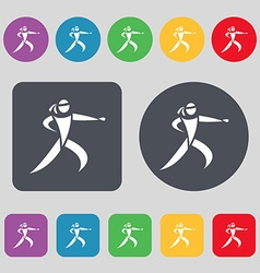 Karate kick icon sign A set of 12 colored buttons vector image