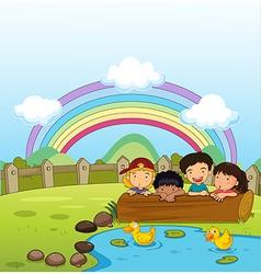 Kids watching the ducklings vector image vector image