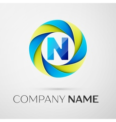 Letter n logo symbol in the colorful circle on vector