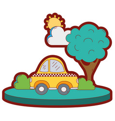 Line color taxi car service in the city with tree vector