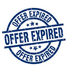 Offer expired blue round grunge stamp vector