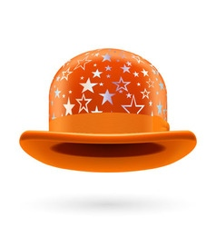 Orange starred bowler hat vector image