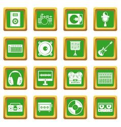 Recording studio items icons set green vector