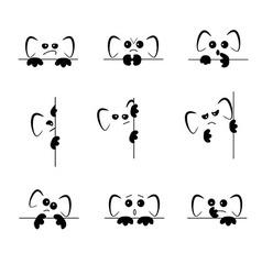 Sad and angry emoji with ears and paws vector