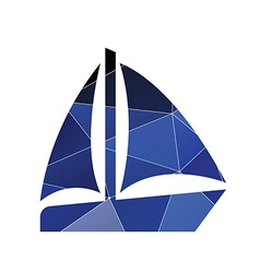 Sail boat icon abstract triangle vector