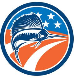 Sailfish fish jumping american flag circle retro vector