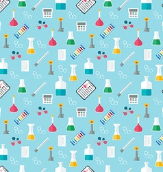 Seamless chemical pattern Chemical glassware and vector image vector image