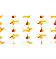 Seamless new year pattern with yellow dogs vector