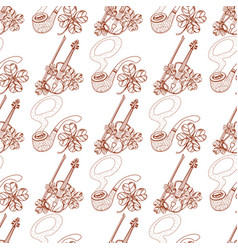 Seamless pattern with violin and pipe vector