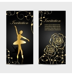Set of invitation cards design vector