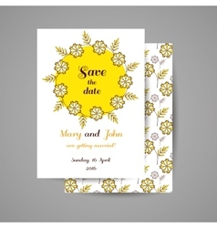 Wedding invitation with yellow flowers vector