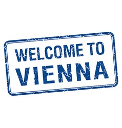Welcome to vienna blue grunge square stamp vector