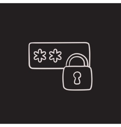 Password protected sketch icon vector