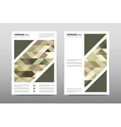 Set of veterans day brochure poster templates in vector