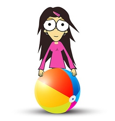 Girl - woman in pink clothes holding beach ball vector