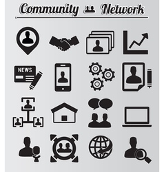 Set of network and community icons vector