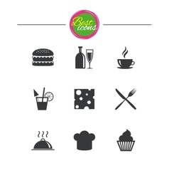 Food drink icons coffee and hamburger signs vector