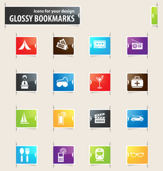 Travel bookmark icons vector