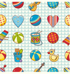 Seamless pattern baby toy cartoon style vector
