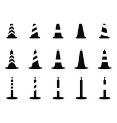 Black traffic cone icon vector