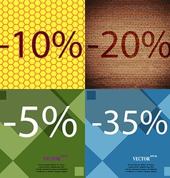 20 5 35 icon set of percent discount on abstract vector