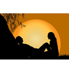 Lovers at sunset vector
