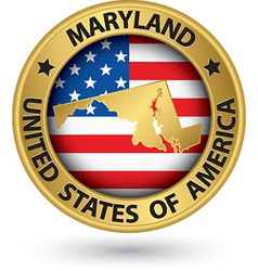 Maryland state gold label with state map vector