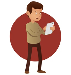 Angry man using tablet device vector image