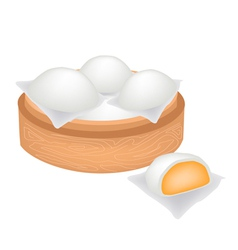 Chinese steamed bun and creamy stuff vector