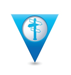 Direct blue triangular map pointer vector