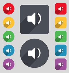 Speaker volume sound icon sign a set of 12 colored vector
