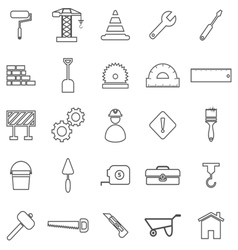 Construction line icons on white background vector
