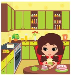Pretty girl eats a pie vector