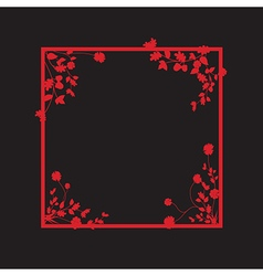 Black and red floral box vector