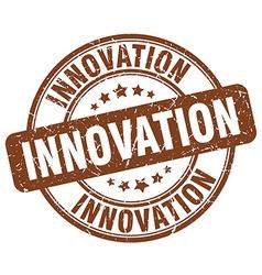 Innovation brown grunge round vintage rubber stamp vector