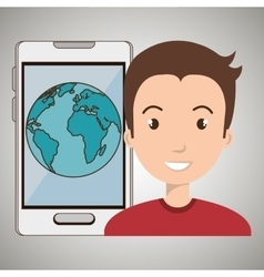 Man smartphone world isolated icon design vector