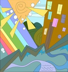 abstract city rainbow sun river home vector image vector image