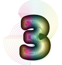 Abstract Colorful Number 3 vector image
