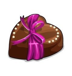 Chocolate heart with pink bow and pearls vector