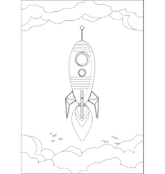 Cosmo rocket in the sky with clouds and birds vector