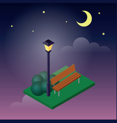 cozy park sitting place moonligt night in park vector image