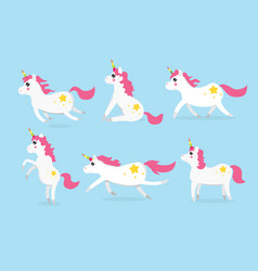 cute unicorns character set of six vector image