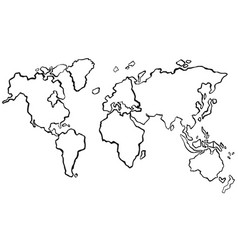 Draft of worldmap without color vector