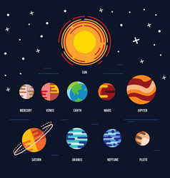 flat icon set of solar system planets vector image