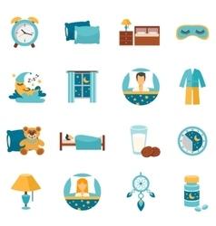 Flat icons sleep time vector