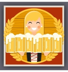 Girl with beer mug oktoberfest poster festival vector