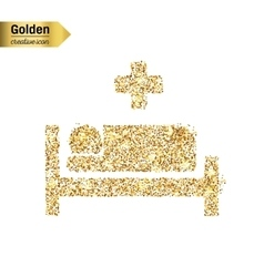 Gold glitter icon of hospital isolated on vector