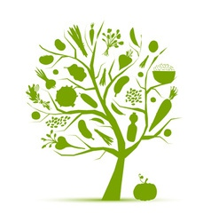 Healthy life - green tree with vegetables vector image