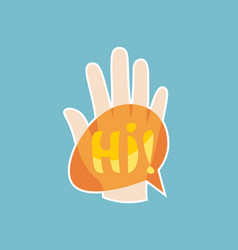 hi sticker social media network message badges vector image vector image