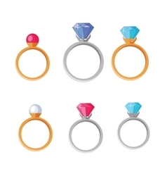 Jewelry set of rings with gems of different colors vector